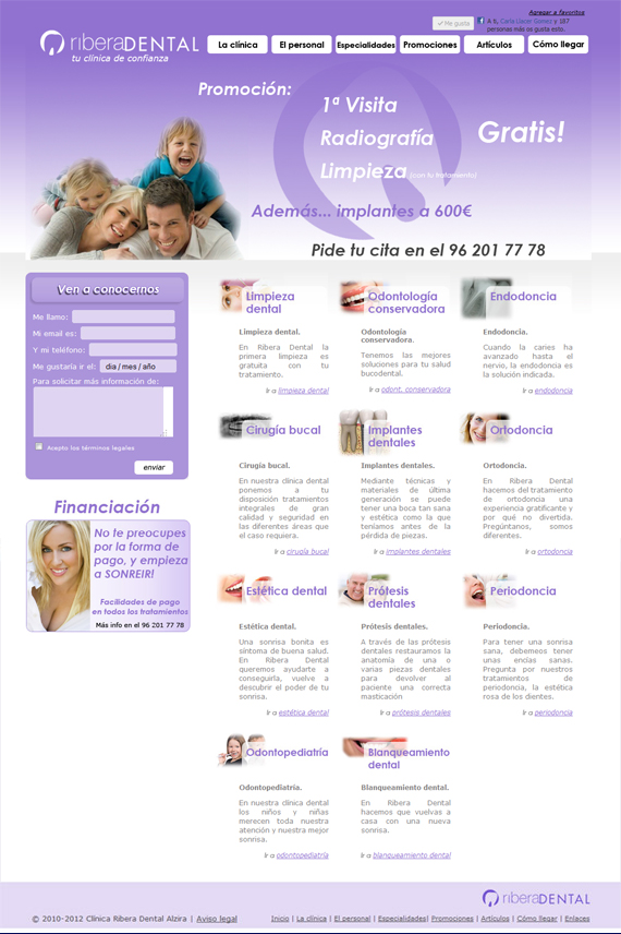 diseño web de la clinica ribera dental